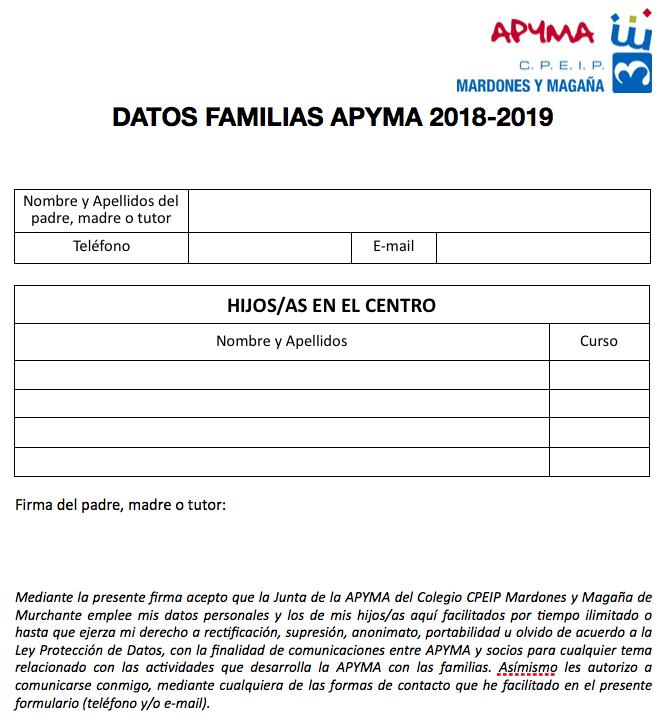 Descargar Formulario Miembros Apyma 2018-2019